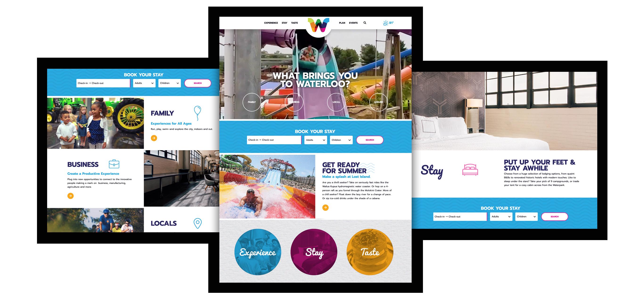 Experience Waterloo website mock up images